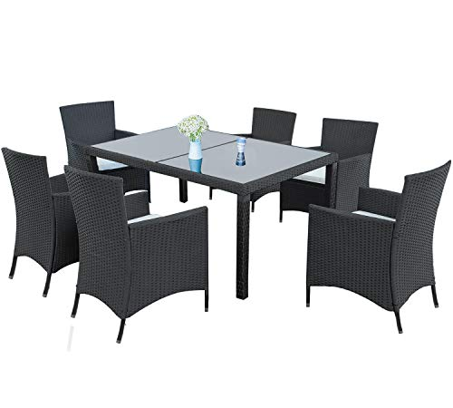 LZ LEISURE ZONE 7-Piece Outdoor Wicker Dining Set – Dining Table Set for 6 – Patio Rattan Furniture Set with Beige Cushion (Black)
