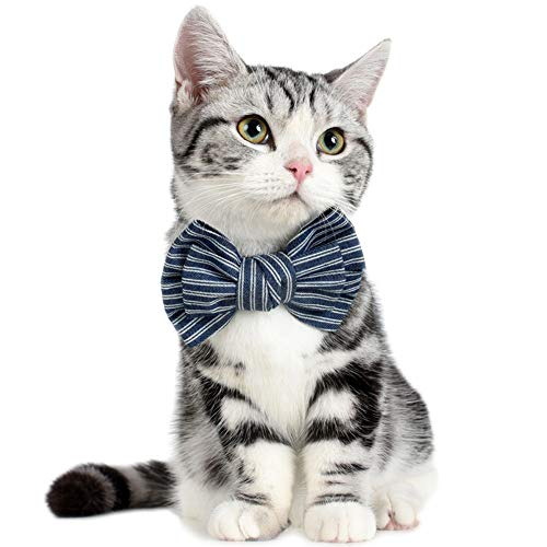 Cute Denim Cat Bowties Collar for Holiday Party Birthday Wedding Gift, Adjustable Pet Decorative Costume Accessories for Kitten Kitty Puppy Small Animals, Neckwear Nacklace Scarf Neckerchief - Neckwear Holiday