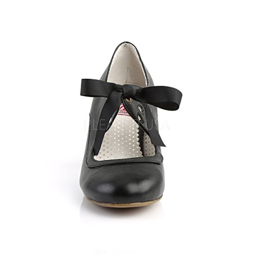 Higher-Heels Women's Lace-Up Flats Black PA8Cg5
