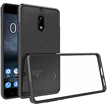 Nokia 6 Case, MicroP [Drop Protection] Slim Fit TPU Grip Bumper Clear Hard Plastic Backplate [Transparent] Hybrid Phone Case for Nokia 6 (Black)