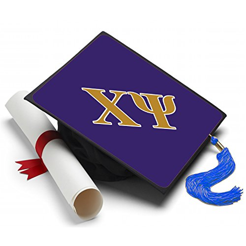 [Chi Psi Graduation Cap Hat Topper Decoration Fraternity 8.5 x 8.5 Inch] (Sorority Sisters Costume)