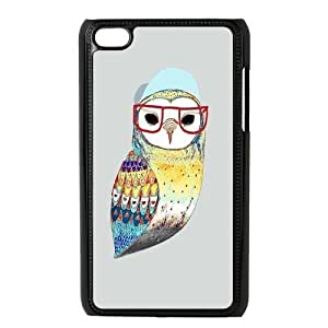 Custom Hipster Owl Back Cover Case for ipod Touch 4 JNIPOD4-414