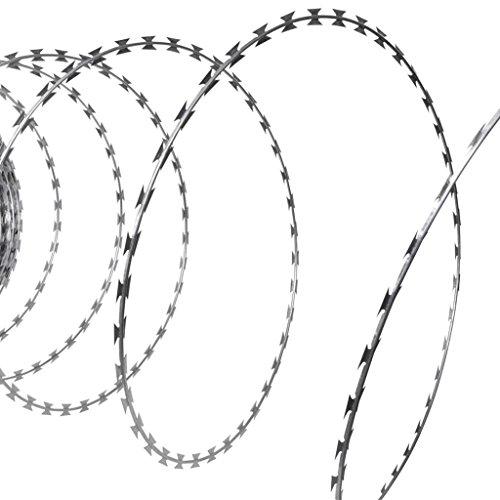 vidaXL Patio 197' NATO Razor Helical Barbed Wire Roll Galvanized Steel Outdoor (Razor Barbed Wire)