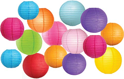 Large Assortment of 15 Pcs Colorful Paper Lanterns (Multi-Color, Size of 8