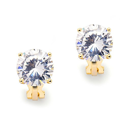 Mariell 3 Carat CZ Clip-On Earrings - 9.5mm Round Solitaire 14K Gold Plated Cubic Zirconia Clip Studs (Non Pierced Diamond Earrings)