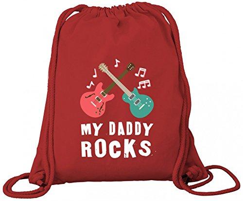 ShirtStreet Geschenkidee Vatertag Premium Bio Baumwoll Turnbeutel Rucksack Stanley Stella Guitars - My Daddy Rocks Red