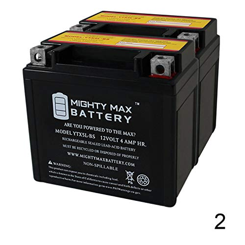 Mighty Max Battery YTX5L-BS 12V 4AH Battery Replaces E-Ton All Models 2004-2013 - 2 Pack Brand Product