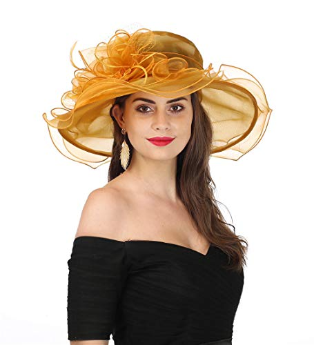 - SAFERIN Women's Organza Church Kentucky Derby Fascinator Bridal Tea Party Wedding Hat (3190-Gold Mash)