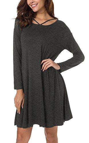 Cross Dress Criss Trim (Urban CoCo Women's Casual T-Shirt Dress Loose Tent Dress (S, Deep Gray))