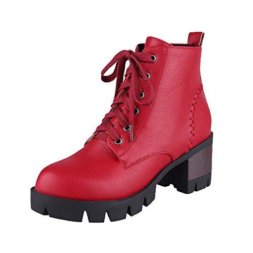 AllhqFashion Damen Blend-Materialien Schnüren Spitz Zehe Mittler Absatz Rein Stiefel, Rot, 39