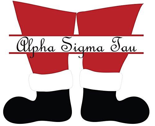 Alpha Sigma Tau Sorority Sticker Decal Christmas Santa Boots 4 Inch Greek for Window Laptop Computer Car - Printable Christmas Tags Christian