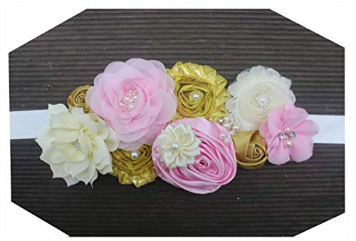 (Maternity pregnancy sash for Mon to be baby shower sash flower sash (Gold pink))