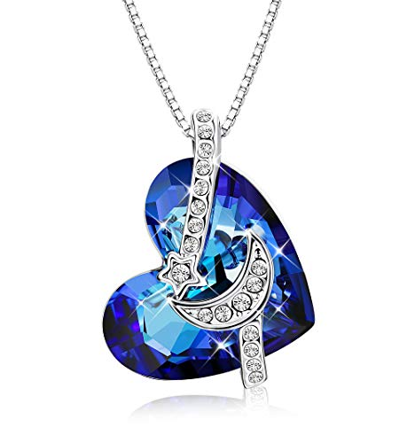 (KesaPlan The Ocean Heart Blue Crystal Pendant Necklace for Women, Made with Swarovski Crystals, Platinum Plated Star & Moon Necklace Jewelry Gift for Mother's Day)