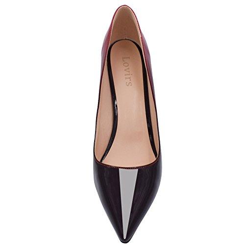 Lovirs Ufficio Da Donna Basic Slip On Pumps Stiletto A Punta Tacco Medio Per Abito Da Festa Rosso-nero