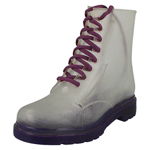 Spot On Womens/Ladies Funky Transparent Neon Lace Up Boots Purple