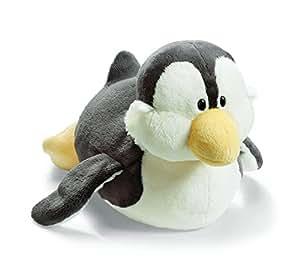 Nici 33180  - Pingüino tumbado de peluche, 20 cm, color gris