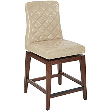 Office Star Emelie 24 Inch Quilted Faux Leather Seat And Back Swivel Barstool 2 Pack Beige