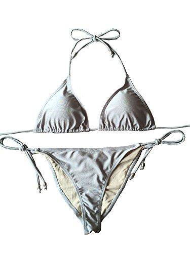 Jonathan Swim Brazilian Bikini Push Up Padded Top Strappy Bottom Triangle (Padded Triangle Bikini Top)