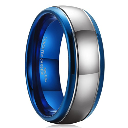 f774f2fba37 King Will Duo 8mm Tungsten Carbide Ring Blue Silver Wedding Band Domed  Highly Polished