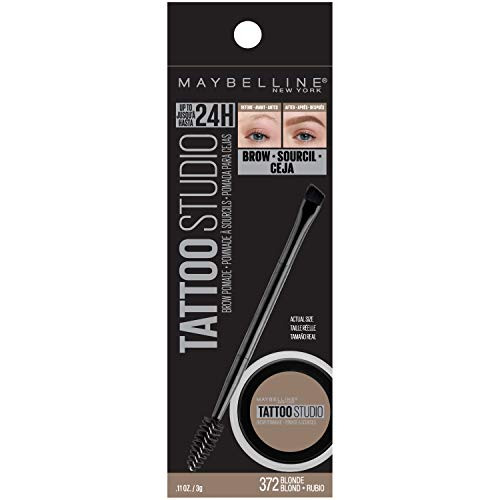 Maybelline New York Tattoostudio Brow Pomade Long Lasting, Buildable, Eyebrow Makeup, Blonde, 0.106 Ounce