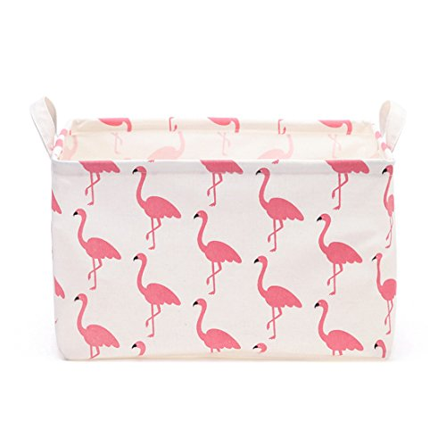 Flamingo Toy Storage Bin Basket Collapsible Box Toy Organizer for Nursery & Kid's Toy, Gift Baskets (Red)