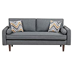 Living Room Lilola Home Mia Mid-Century Modern Gray Linen Sofa Couch with USB Charging Ports & Pillows modern sofas and couches