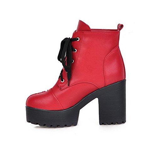 Red Hæler Pu Kvinners up Boots Blonder Høye top Allhqfashion Solid Lav vUIqq