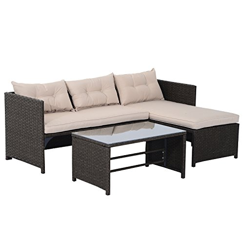 Outsunny 3 Piece Outdoor Rattan Wicker Patio Sofa and Chaise Lounge Set (Patio Sets Cheap Sale)