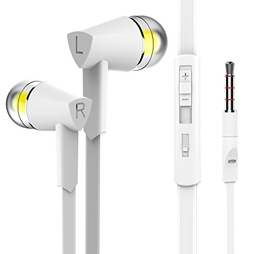 Vomercy Headphones In-Ear Wired Earbuds, with Microphone Stereo and Volume Control Earphones for All 3.5mm Interface Device (White)