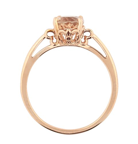 1ct Morganite 14K Rose Gold Ring (Size 8.5) (Morganite Ring 14k Rose Gold)