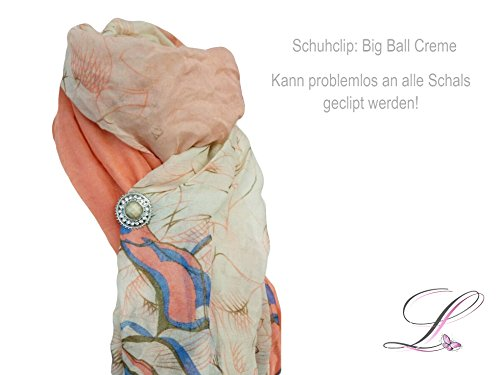 La Loria 2 Schuhclips Big Ball Trachtenschmuck Schmuck-Accessoires für Schuhe Silber-Creme