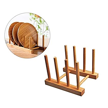 Decorative wooden plate stand