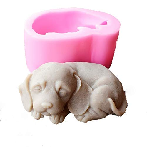 - Runloo 3D Dog Silicone Candle Molds Cute Puppy Soap Molds Chocolate Cake Baking Moulds Fondant Cake Dog Molds