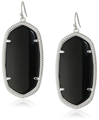 Kendra Scott''Signature'' Danielle Rhodium plated Black Glass Drop Earrings by Kendra Scott