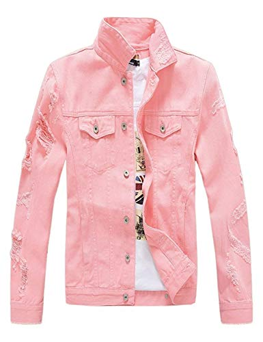 Mens Classic Slim Fit Motorcycle Denim Jean Jacket Coat Ripped Pink Medium