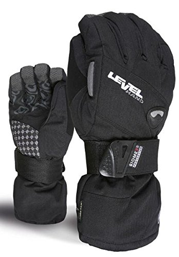 Level Half Pipe GTX Women's Snowboard Protective Gloves with GoreTex, BioMex Wrist Guards, ThermoPlus Liner (Black, Small (7.0in)) ()