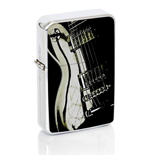 Guitar Windproof Flip Top Silver Lighter ()