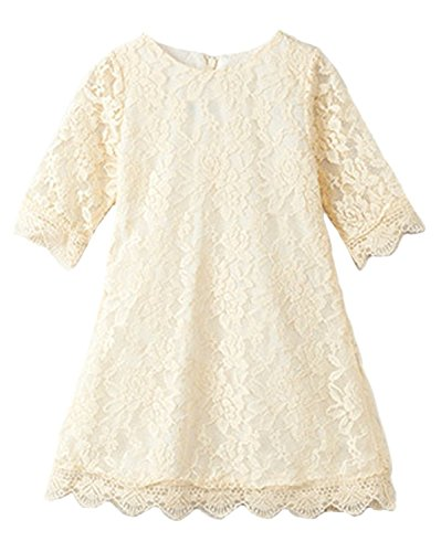 CVERRE Flower Girl Lace Dress Country Dresses with Sleeves 1-6 7-16 (140, Beige)