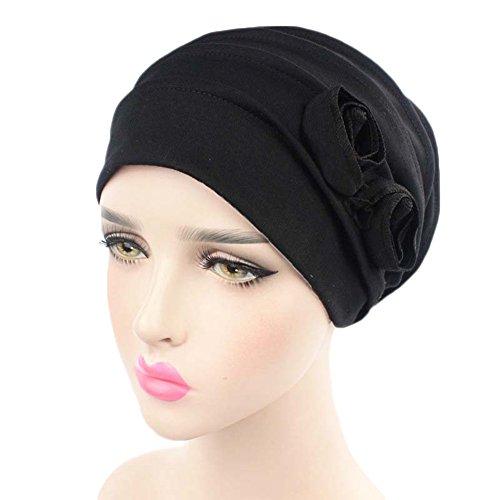 [Home-organizer Tech Chemo Cancer Head Scarf Hat Cap Ethnic Turban Flower Muslim Headwear (Black)] (Ethnic Hats)