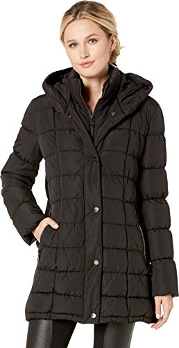 - Calvin Klein Women's Traditional Puffer Jacket with Bib Insert and Knit Panel Sides, Black, XS