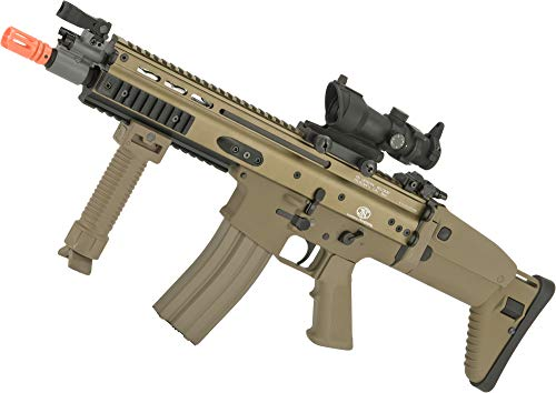 Evike FN Herstal Licensed Full Metal Scar CQB Airsoft AEG Rifle by G&G (Package: Add 7.4v LiPo Battery + BMS Charger + LiPo Safe)