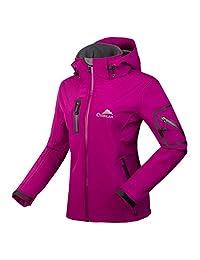 CIKRILAN Women's Soft Shell Windproof Outdoor Fleece Lined Jacket Ladies Coat (Purple, XX-Large)