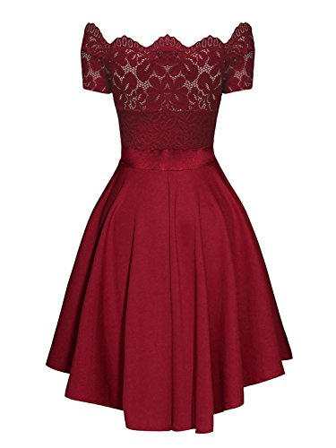 Wine Wedding Red Vintage Dreaweet Boat Dresses Cocktail Shoulder Off Party Women's Neck Lace OOqPgz