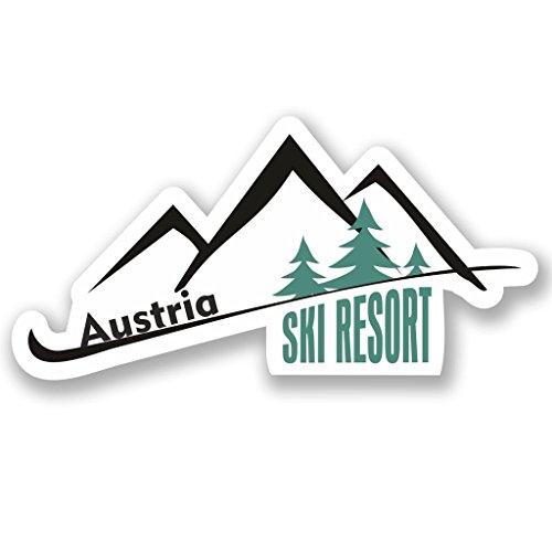 2 x 10cm/100mm Austria Ski Resort Vinyl Sticker Decal Laptop