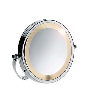 Kela 21495 Daria - Espejo de aumento con peana y luz (15 cm, aumento de 3x), color plateado