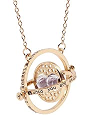 D-Fokes Magic Time Turner Hourglass Pendant Necklace Hermione Granger Rotating Spins Gold Plated Lover's Jewelry