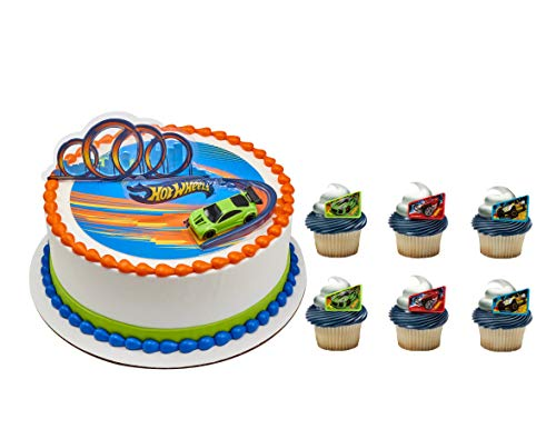 Hot Wheels Drift Officially Licensed Cupcake Topper with 24 Hot Wheels Way 2 Fast Cupcake Topper Rings and 24 Assorted Spiral Candles
