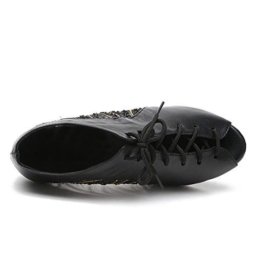 Minishion Femmes Lacets Maille Chaussures De Danse Latine En Cuir Cheville Sandales Noir-7.5cm Talon