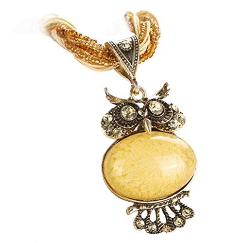 Hmlai Clearance! Fashion Bohemian Owl Statement Necklaces Rhinestone Gem Pendant Collar Jewelry Gift for Women (Yellow)