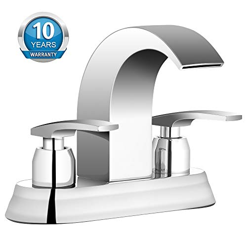 Bathroom Faucet, Widespread Bathroom Sink Faucet with Double Handles Chrome Finish, Hot/Cold Water Mixer Waterfall Basin Faucet Perfect for 4 in 3 Holes Sink by Aposhion